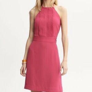 Pink Banana Republic Halter Sheath Dress Open Back